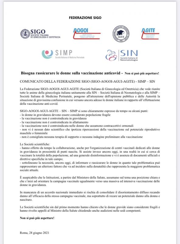 Comunicato SIGO vaccinazione anti Covid-19 donne