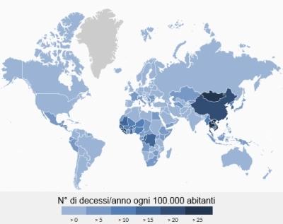 Mortalità per HCC nel mondo