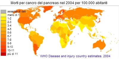 Mortalità per cancro del pancreas