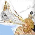 Mitologia: parto di Minerva per mal di testa del Padre degli Dei