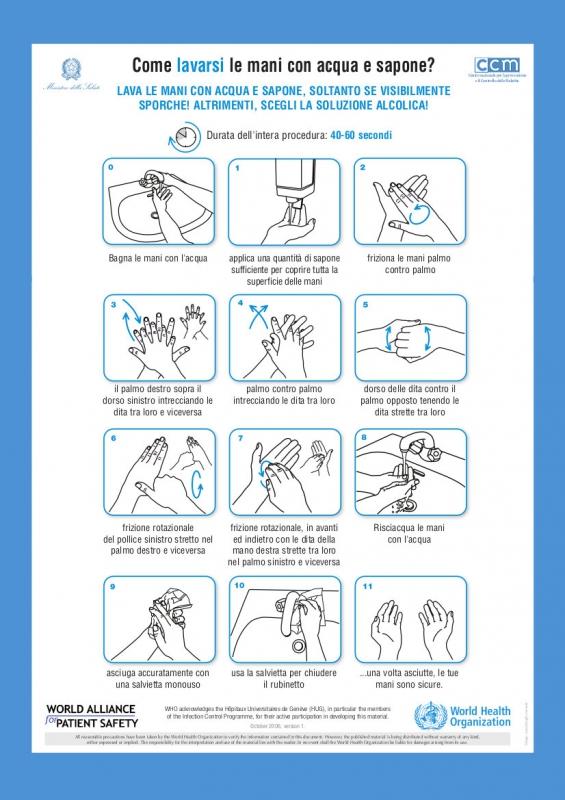 Lavare le mani con acqua e sapone